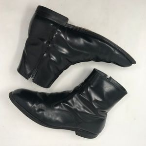 Vtg Mens Beatle Ankle Boots 10 EEE Black Leather